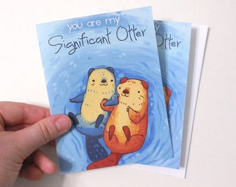small otter card, 'you are my significant otter' anniversary card, valentines day card