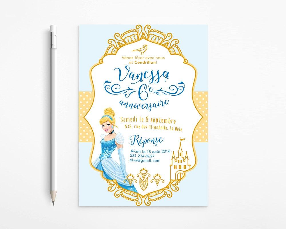 Cinderella Birthday Party Invitation, Princess, Girl, Dress, Gold ...