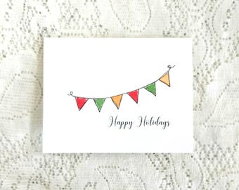 Bunting Christmas Cards / Bunting Flag Cards / Blank Greeting Card / Hand Painted Greeting Cards / Christmas Flag Card