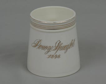Vintage Shaving Mug white porcelain Signed Percy Sheight 1898 Gold accents