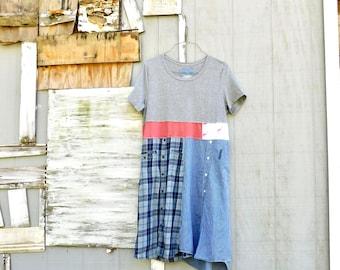 Flamingo, Recycled Clothing, Tshirt Dress, Upcycled Clothing, Summer, Upcycled Dress, Romantic, Boho, Grey Tshirt, Up Cycled, CreoleSha