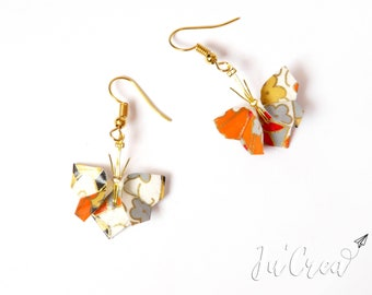 Orange Origami butterfly earrings
