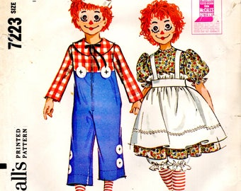 McCall's 7723 Raggedy Ann Andy 1960s Costume TIGHTS & WIG MASKS ©1964 Child Size Medium 6-8