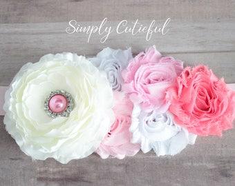SALE! Pink White Maternity Sash,Pregnancy Belt, Photo Prop, Pregnancy  It's a Girl Floral Baby Shower Belly Sash, and Wedding Bridal Sash