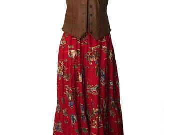 Vintage 1980s Tiered Elastic Waist Western/Boho Skirt Vibrant Color Cowboys Bucking Broncos Broomstick Skirt