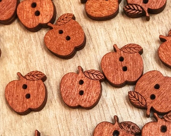 15mm 2 hole Cute wooden Buttons, Apple buttons, crafts, sewing, pack of 10 or 20 buttons