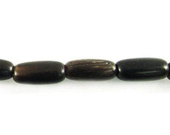 8 x 3mm Rich Black Horn Rice Beads 25pcs