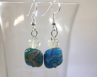 Volcano Quartz and Blue Crazy Lace Agate earrings