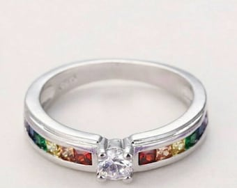 Sterling silver engagement, promise rainbow ring. Size 8