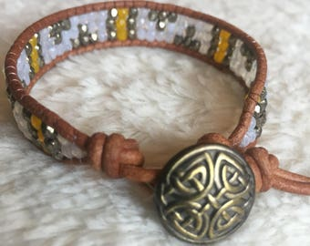 Beaded Leather Bohemian Wrap bracelet with yellow and brass tone beads