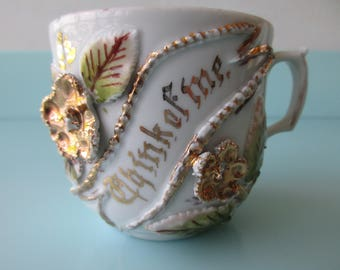 Victorian Mustache Cup THINK OF ME A Genuine Antique in German Porcelain w Encrusted Gold Floral and Dotted  Detail