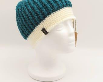 Crochet Messy Bun Hat/ Messy Bun Beanie/ Ponytail Beanie/ Teal Hat (Teen/Adult)