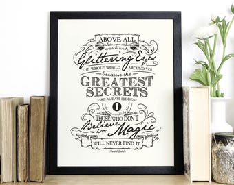 Roald Dahl Quote Print - Inspirational Screen Print - Black and White Wall Art - Typography by Chatty Nora - Believe in Magic