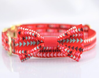 Engraved in free,Personalized Dog Collar and Bow Tie Set,multicolor Geometric Triangle