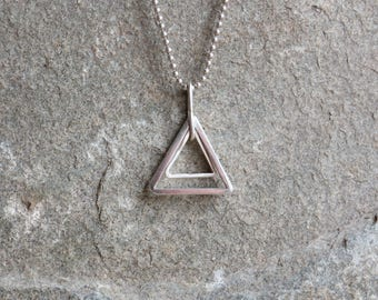 925 Sterling silver double triangle pendant & bead chain necklace