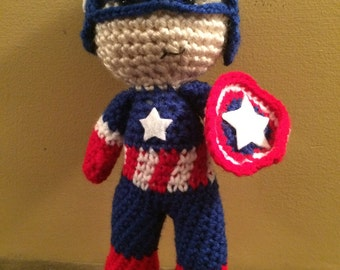 Ready To Ship Classic Suit Captain America Inspired Amigurumi Doll