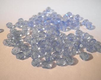 faceted Czech 4 mm Sapphire - 30030 25 beads