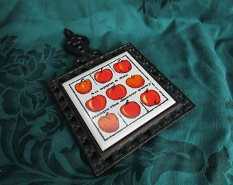 Vintage Kitchen Trivet, An Apple a Day Keeps the Doctor Away