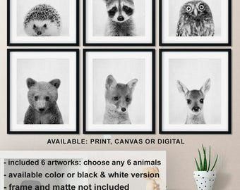 Black and white woodland animals, Woodland baby animal prints for nursery, Forest creatures baby shower, Forest animals Print/Canvas/Digital