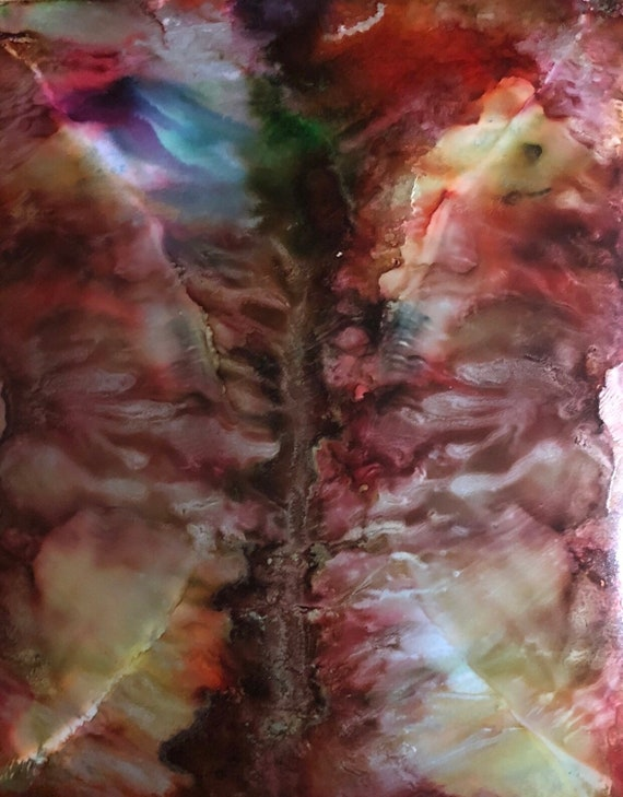 """Original Alcohol Ink Abstract Painting: """"Elements Of Both"""" (11"""" X 14"""")"""