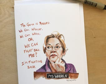 Elizabeth Warren Portrait and Inspiring quote, 5x7 greeting card, Ready to Ship