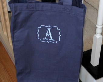 Monogrammed Canvas Tote Bag, Personalized Canvas Tote Bag, Tote Bag, Personalized Shopping Bag