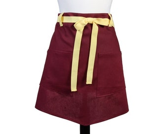 Womens Linen Retro Half Apron in Burdeaux Straight Style Skirt with Soft Buttery Yellow Belt Loops and Ties and Two Pockets