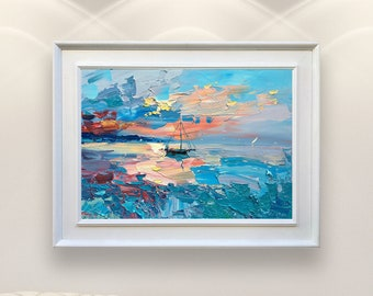 Sailing Painting on Canvas Sunset Painting Abstract Art Seascape Wall Art Ocean Painting Modern Wall Decor Sea Painting Gift for Men