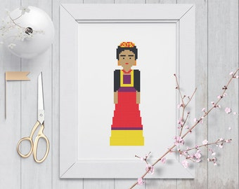 Frida Kahlo Cross Stitch Pattern - Instant Download