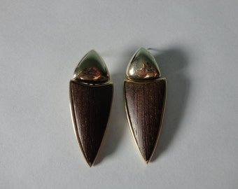 VINTAGE wood inlay TRIANGLE post EARRINGS