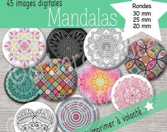 Mandalas - Images Digital diameter 20 / 25 / 30 mm - cabochon, badge, jewelry