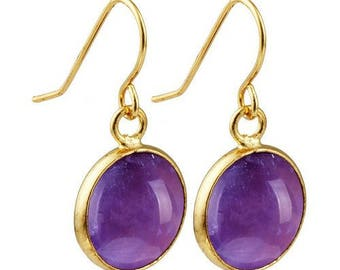 Round dangle earrings plated gold - Amethyst