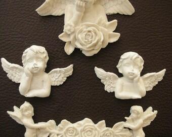 Resin Cherub Angel Embellishments Flatback - 4 pcs resin - Cupid Valentines Christmas Furniture appliques Shabby Cherubs Onlay