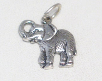 Sterling silver elephant charm pendant 4 bracelet necklace trunk up good luck crosshatched design gray African safari wildlife animal