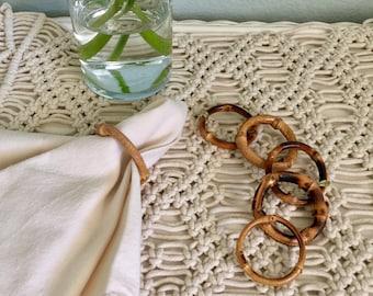 Boho Chic Rattan Napkin Rings set of 8