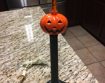 Vintage candelabra woth Halloween pumpkin bubble light electric candle