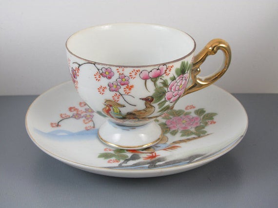 Vintage hand painted Japan footed pedestal demitasse birds cup and saucer / porcelain / china / bone china / tea / coffee