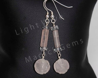 Misty Rose Quartz and Sterling Silver Earrings