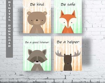 WOODLAND Animals Class Room Wall Art Print-Set of Four (4) - Digital Download.Woodland Creatures Wall Art Printable.Classroom Woodland Quote