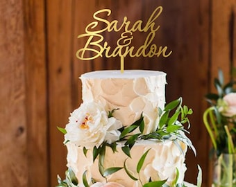 Personalized cake topper, custom names cake topper, wedding cake topper, rustic wooden cake topper