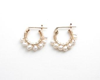 Tiny Pearl Hoop Earrings. 14K GF Hoop Earrings. Wire Wrapped Freshwater Pearls. June Birthday. Simple Modern Jewelry by PetitBlue