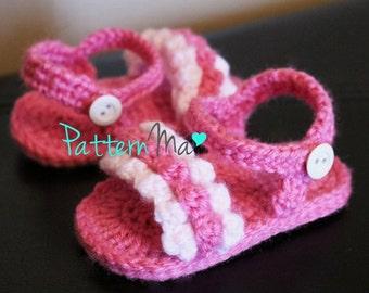 Crochet Baby Sandals Pattern ruffled #8