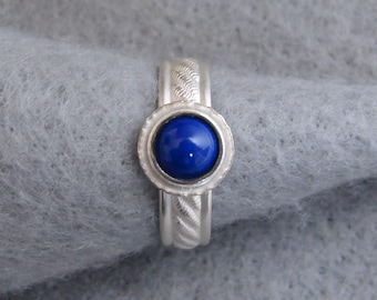Lapis and Sterling Silver Ring, unique organic hand forged setting with deep blue gemstone, Alabama silversmith, US size 7.5 ready to ship