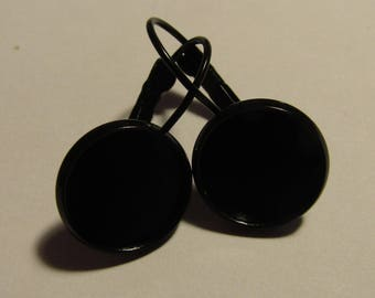 earrings, black pair, for cabochon 12mm