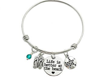 Life is Better at the Beach Bangle Bracelet - Engraved Jewelry - Beach Jewelry - Flip Flop - Sea Glass - Summer Beach Jewelry - 1022