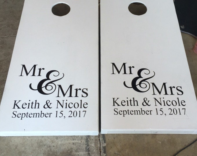 Personalized Decal Set Cornhole Board Decals Wedding Cornhole Decals Set of Two Vinyl Decals Cornhole Decals Wedding Names and Date Decals