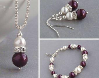 Plum Pearl Jewellery Set - Eggplant Pendant Necklace, Bracelet and Earrings - Plum Bridesmaids Jewellery - Bridal Party Gifts - Wedding