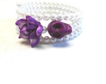 Sugar Skull Bracelet Day Of The Dead Jewelry White Purple Rose Lilac Lavender