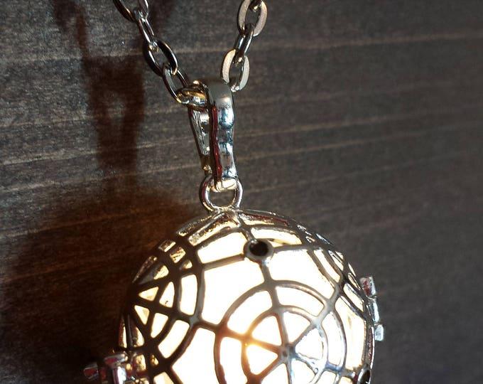 Magical Circle Glowing Magick Pendant Locket LED jewelry Silver tone