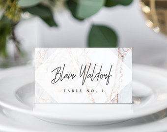INSTANT DOWNLOAD Wedding Place Cards, Marble Printable Wedding Place Card, Marble Wedding Name Cards Template, DIY Table, Templett, W03